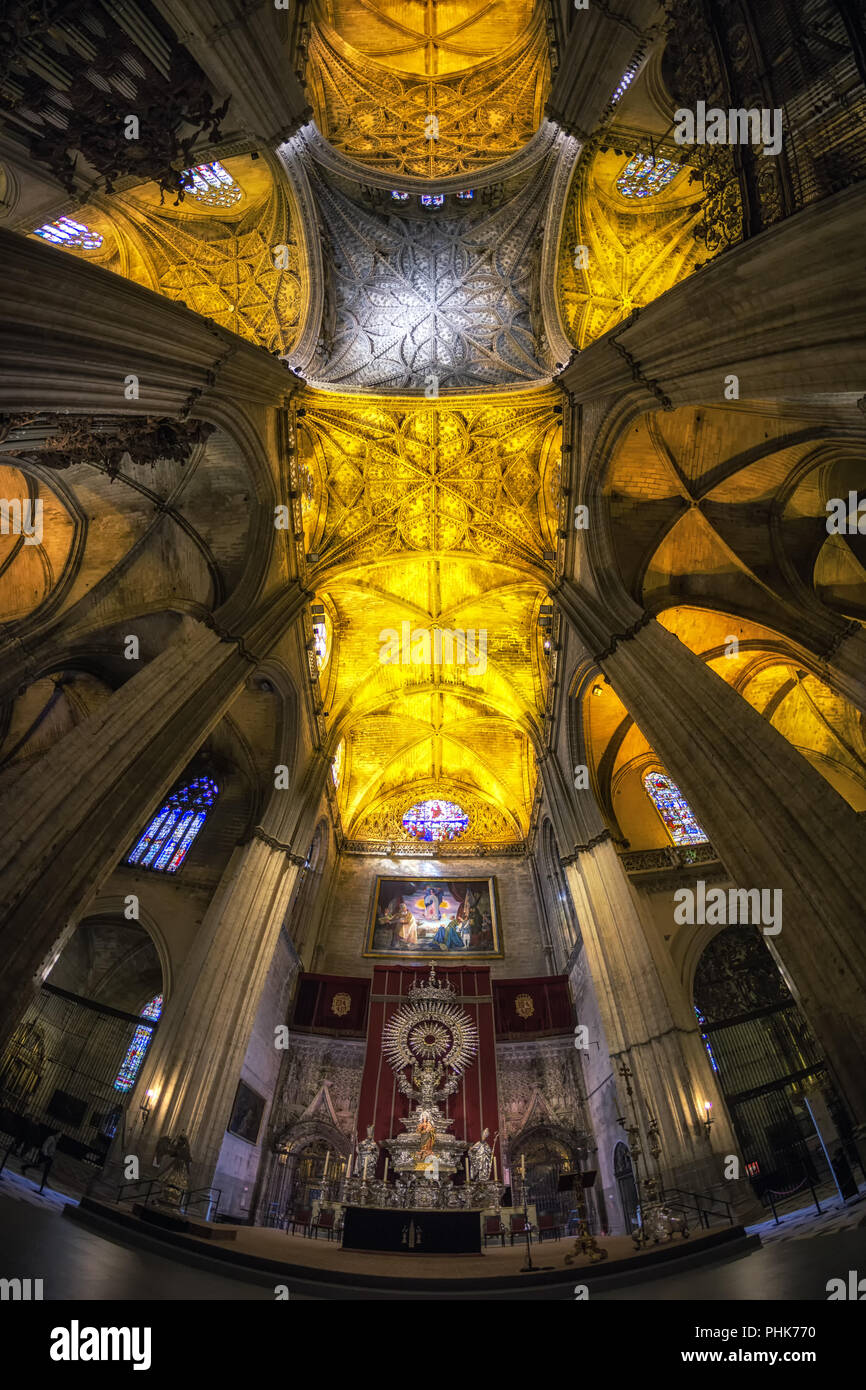 Seville cathedral interiors - Stock Image