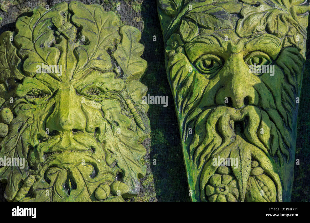Green Man Masks For The Garden And Decorative. English Folklore.