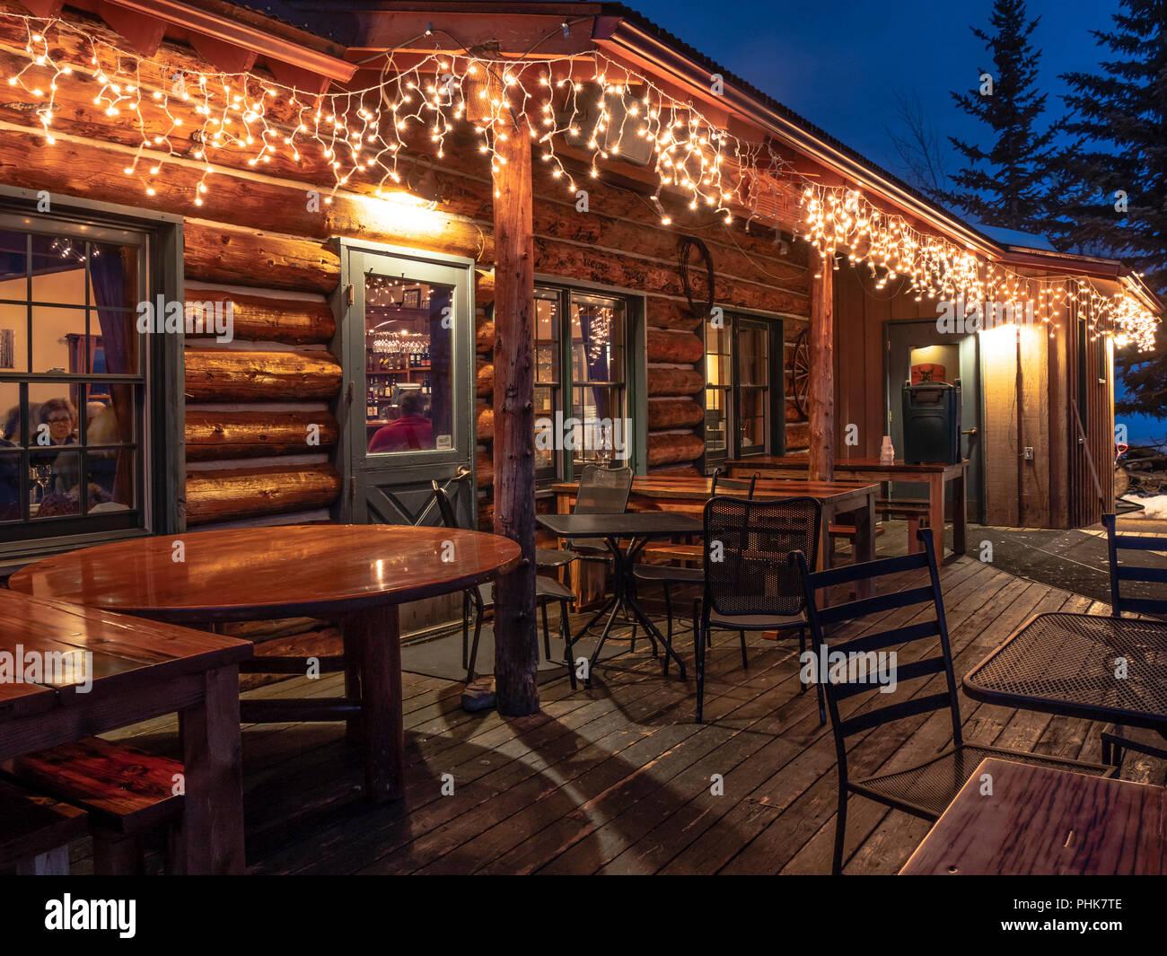 Lynn Britt Cabin at dusk, Snowmass Ski Resort, Snowmass Village, Colorado. - Stock Image