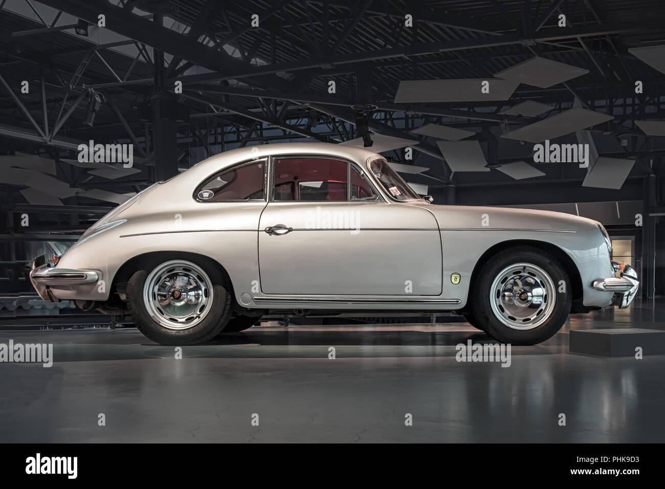 RIGA, LATVIA-APRIL 18, 2018: 1961 Porsche 356 B in the Riga Motor Museum. - Stock Image