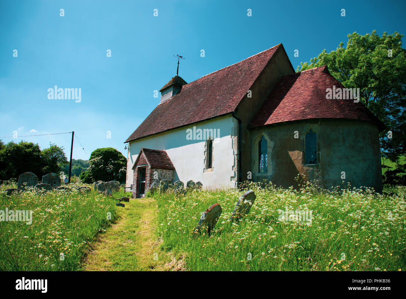 Upwaltham 12th Century church Stock Photo