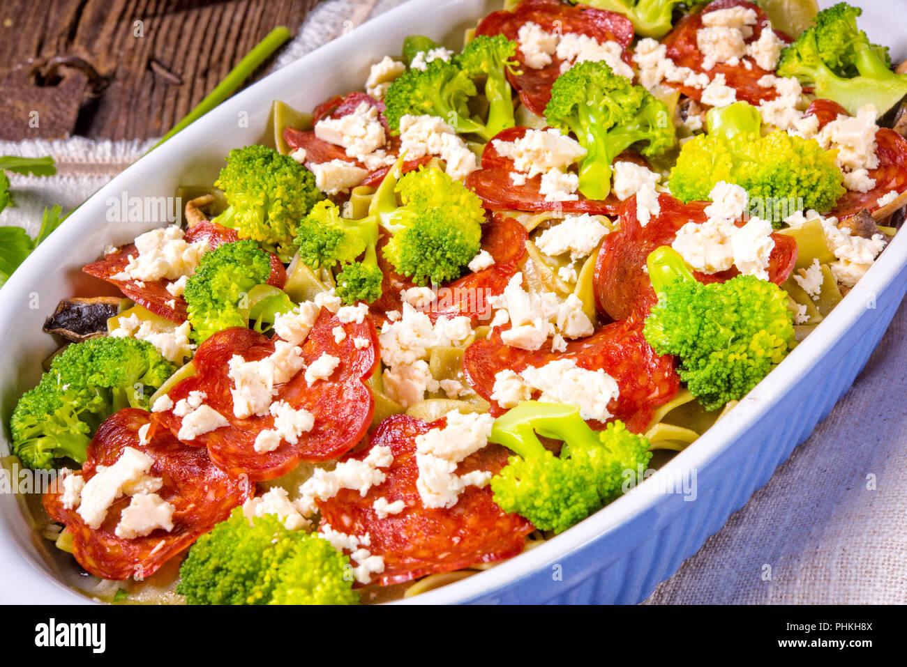 Pasta casserole with chorizo sausage and broccoli - Stock Image