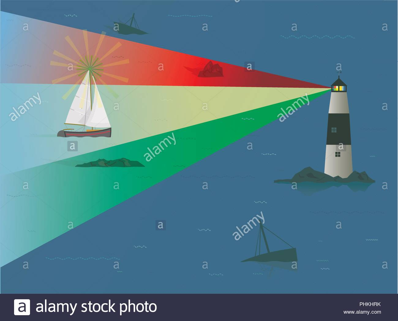 Sailboat being guided through Treacherous Rocks at Night by  Lighthouse, Risk Concept, Risk Management, Navigation, Guiding Lights, Timing, Beacon - Stock Image