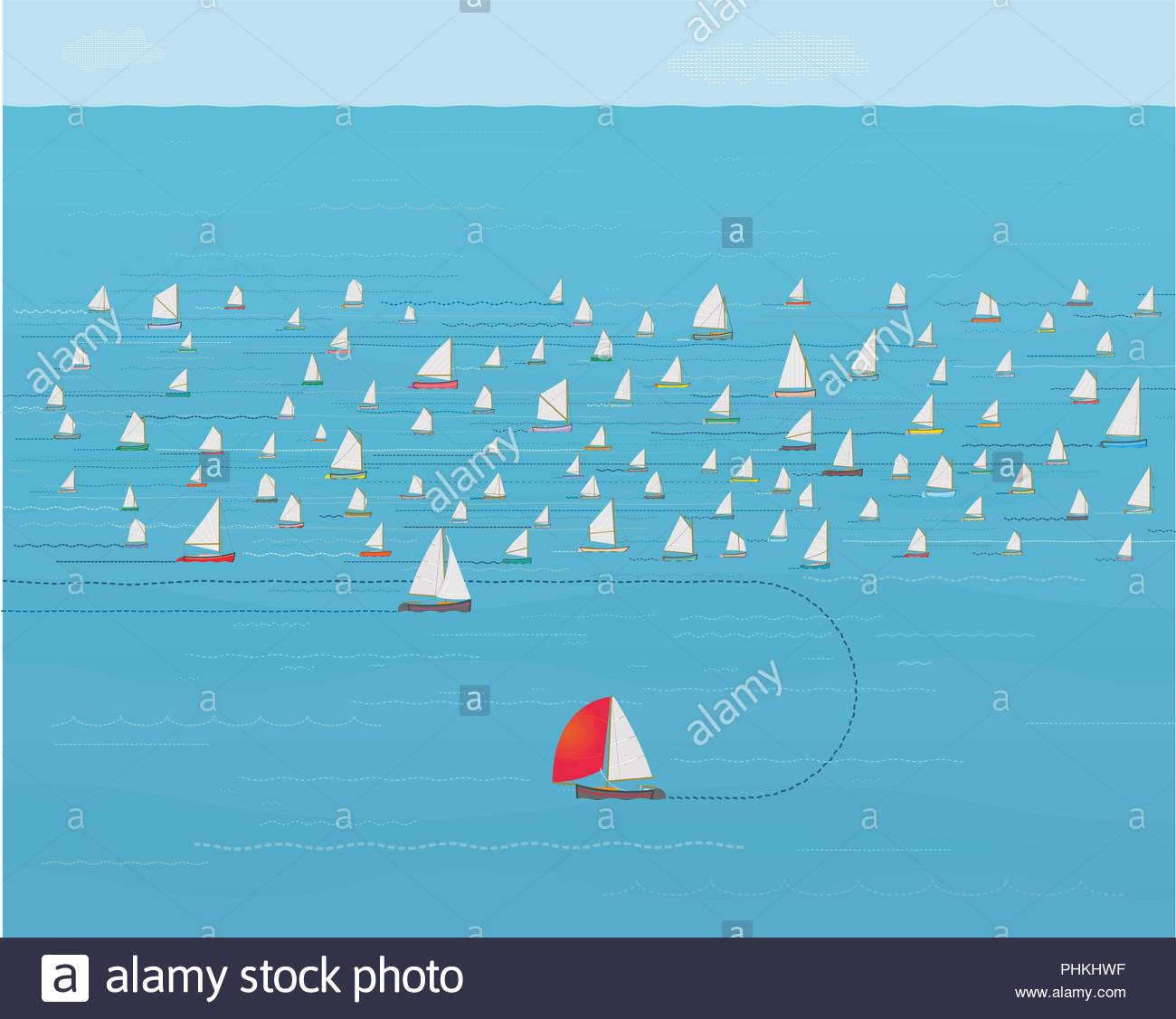Sailboat turning around and leaving crowded Fleet, New Direction, Change Direction, Timing, Knowing when to Quit, Time for Change, Business Strategy - Stock Image