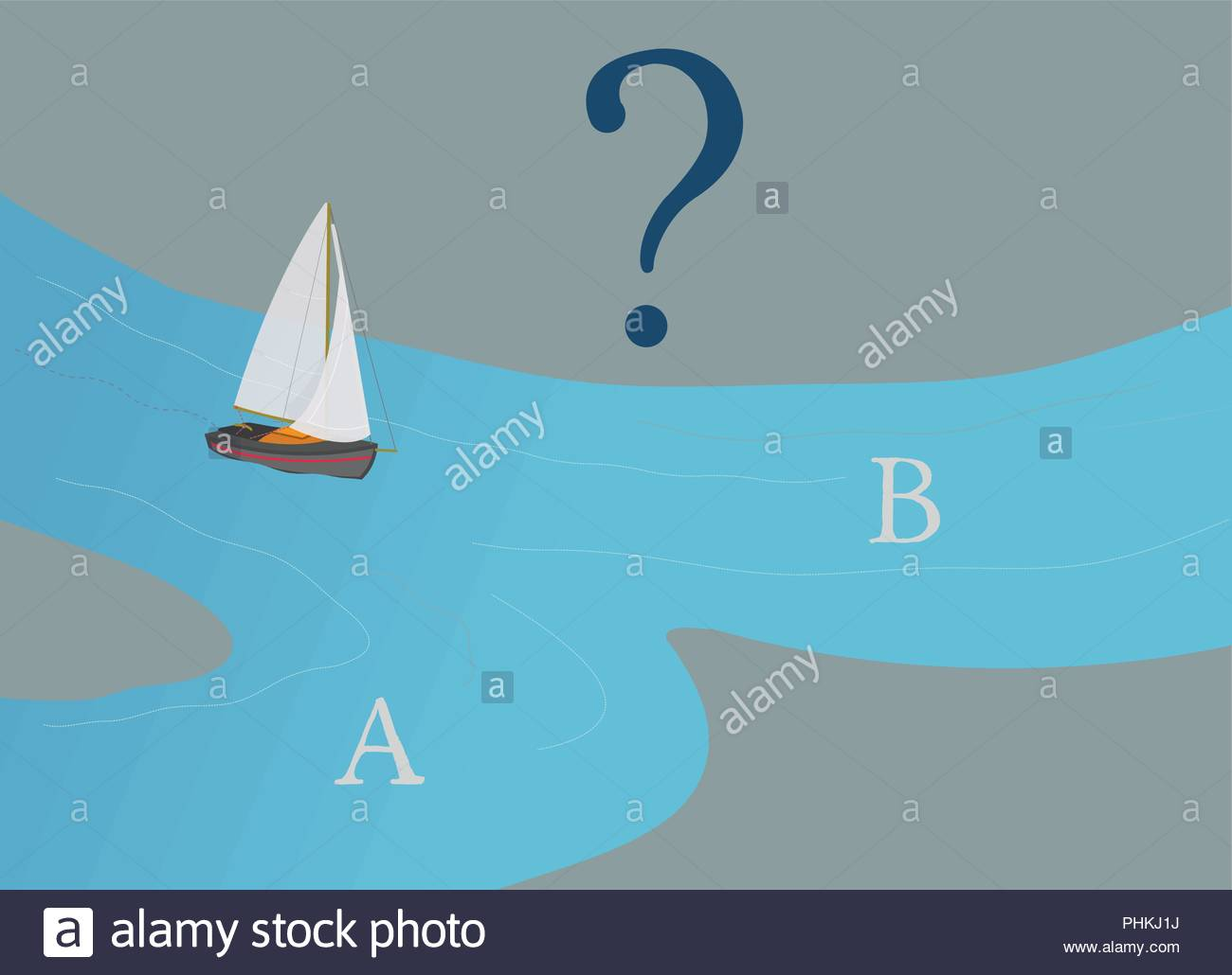 Sail Boat deciding which way to go, A or B?, Business Direction Concept, Question Mark, Decision Making, Illustration, Planning, Navigation Stock Vector