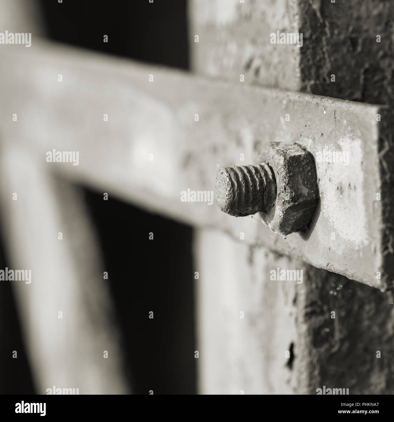 Screw connection to a metal construction in the port of Magdeburg - Stock Image