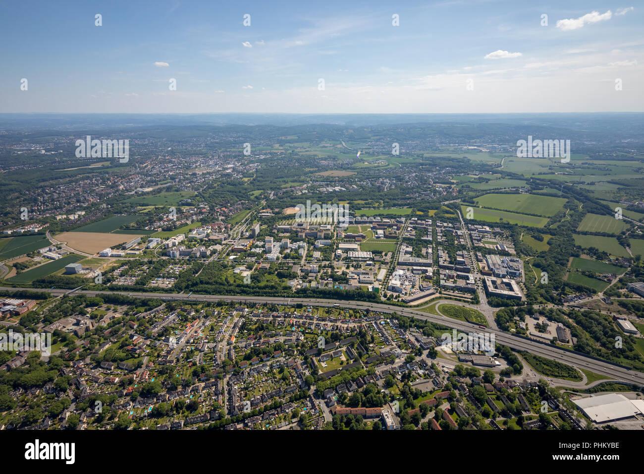 Aerial view, TechnologiePark Dortmund, Technische Universität Dortmund, TU Dortmund, TechnologieZentrumDortmund, TZDO Dortmund, Ruhrgebiet, Nordrhein- - Stock Image