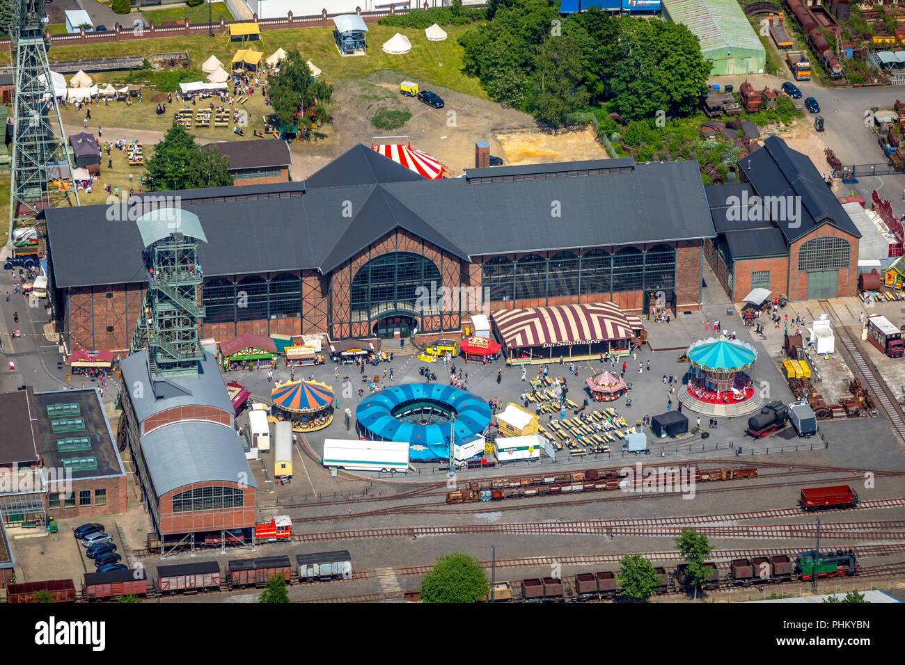 Aerial photo, Zollern colliery historical fair ,Festival on the grounds of Zollern colliery, LWL-Industriemuseum - Westfälisches Landesmuseum für Indu - Stock Image
