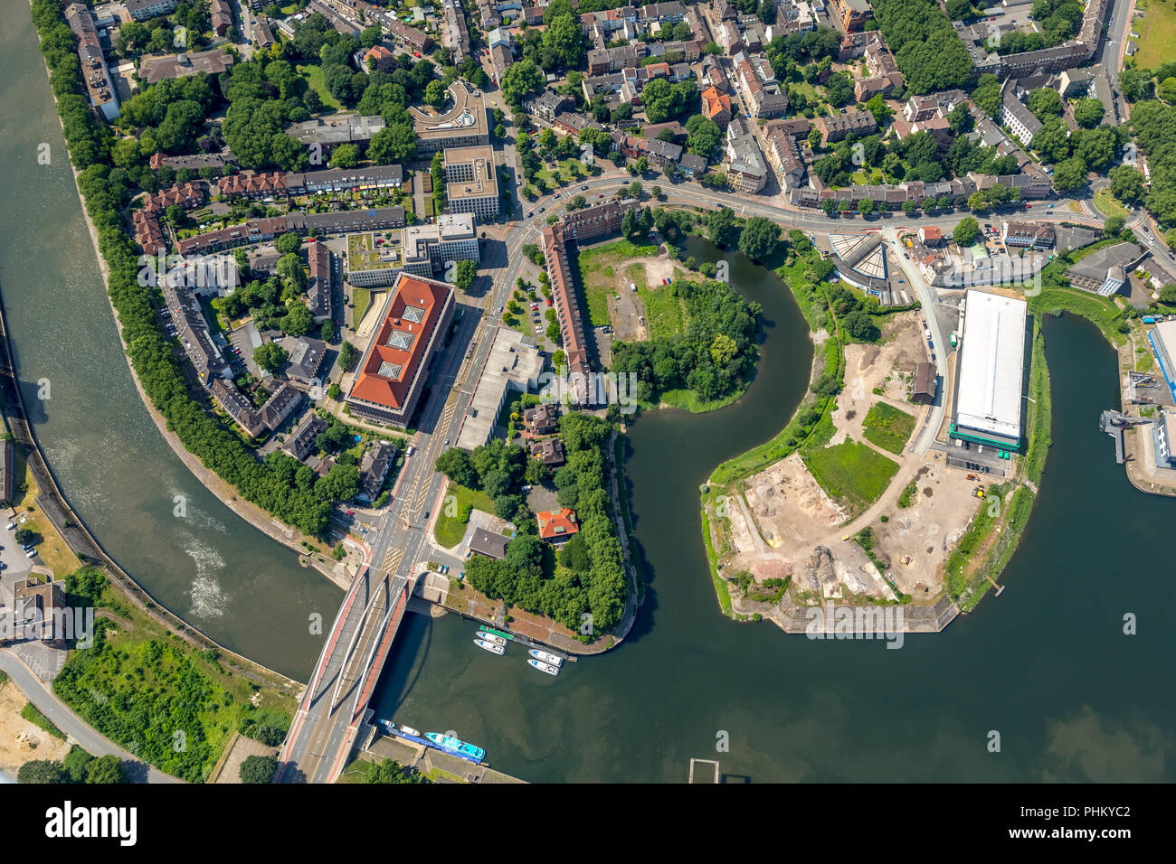 Aerial view, Ruhrort with Tausendfensterhaus and Duisburg harbour entrance, brownfields Alte Duisburger Straße, Duisburg, Ruhrgebiet, North Rhine-West - Stock Image