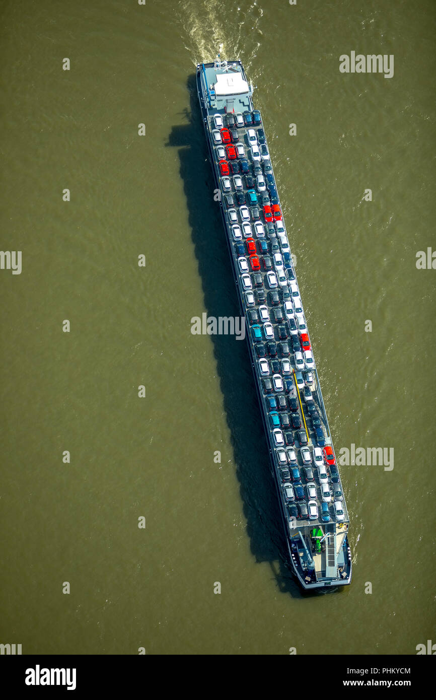 Aerial view, cargo ship on the Rhine goes downhill, cargo ship with cars as cargo, inland navigation Duisburg, Ruhr area, North Rhine-Westphalia, Germ Stock Photo