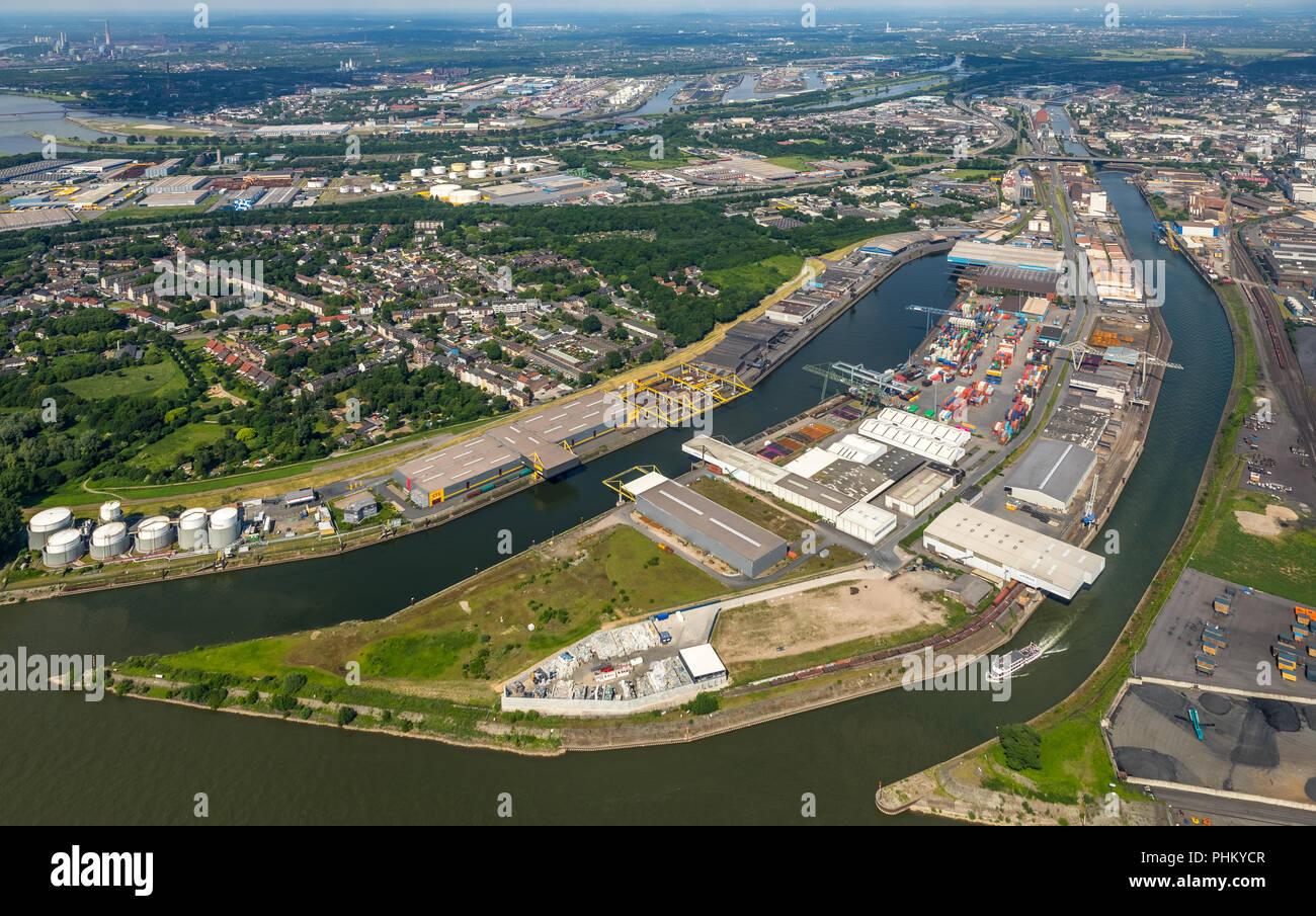 Luftbild, Rheinhafen Neuenkamp, Binnenhafen mit Einfahrt zum Innenhafen, Rhenus Port Logistics Rhein-Ruhr GmbH,DCP Dettmer Container Packing GmbH & Co - Stock Image