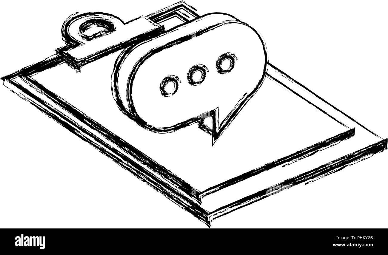 checklist clipboard with speech bubble vector illustration design