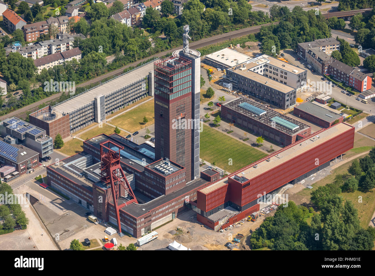 Aerial view, Nordsternpark with edataunited GmbH, new building VIVAWEST and Müller BBM, former colliery Nordstern am Rhein-Herne-Kanal with canal brid - Stock Image