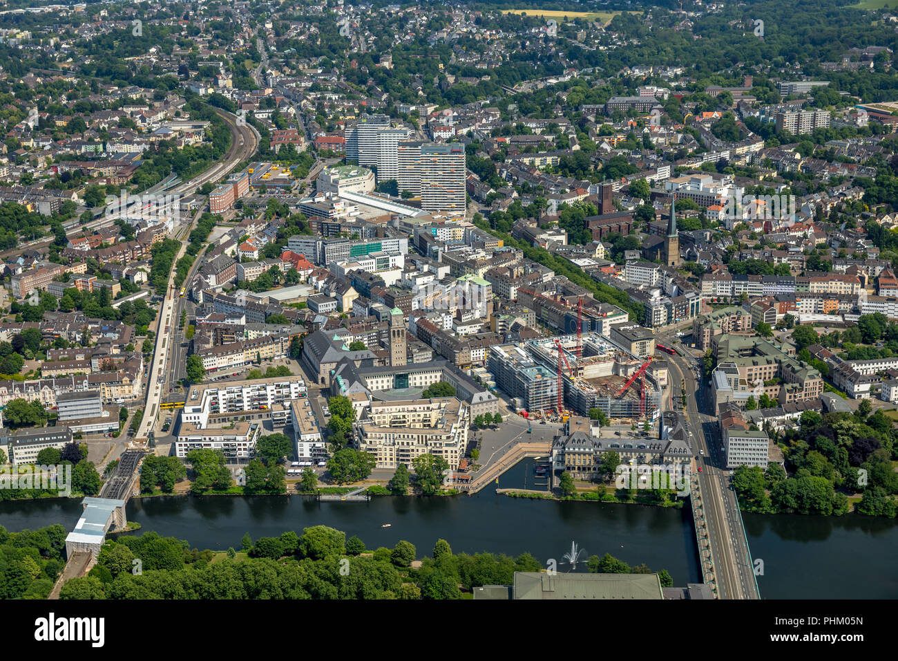 , Aerial view, Mülheim Mitte with view of Ruhrbania, Ruhrpromrnade, Ruhr and City Hall, StadtQuartiers Schlossstraße, SQS 'Mülheim an der Ruhr, Ruhrge - Stock Image