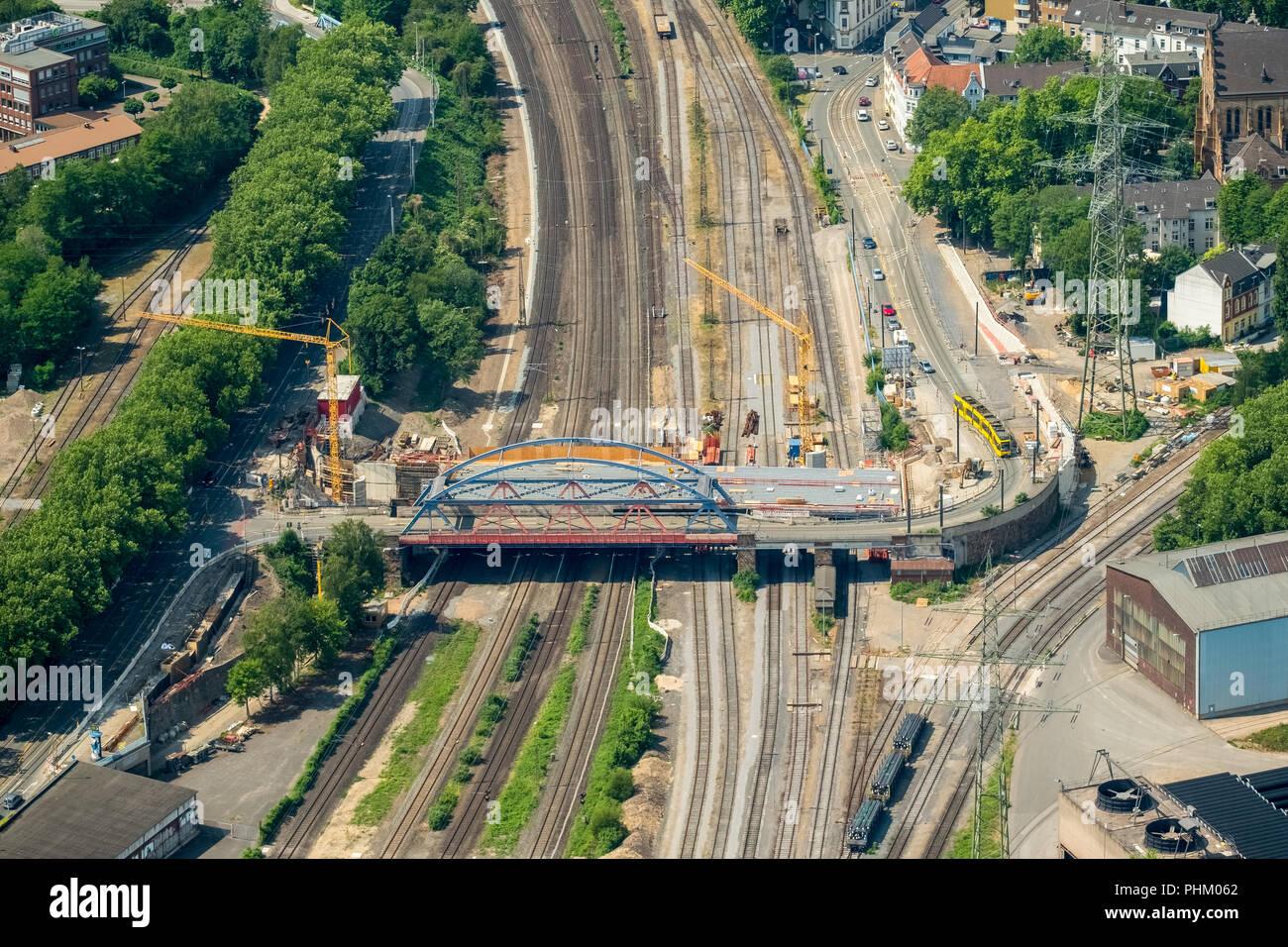 Aerial view, Mülheim Mitte with a view of Ruhrbania, Ruhr promenade, Ruhr and Rathaus, StadtQuartier Schlossstraße, SQS 'Mülheim an der Ruhr, Ruhrgebi - Stock Image