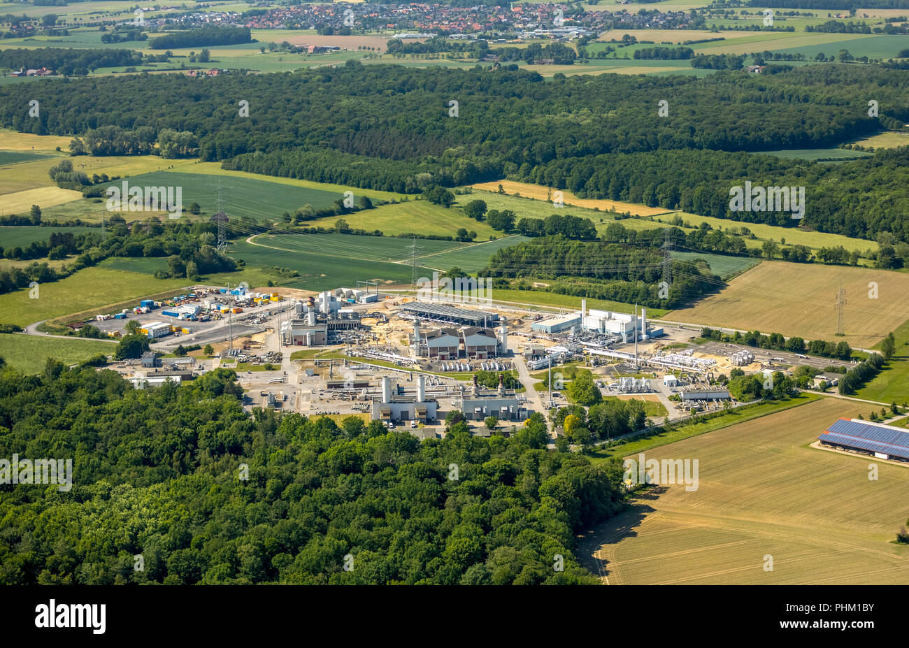 Aerial view, natural gas compressor station in Ehringhausen, Open Grid Europe, filters, cooler and systems for internal gas distribution, gas supply c Stock Photo