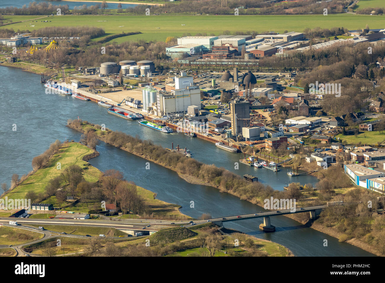 New Lippe estuary delta, reconstruction Lippeverband, Lippe River in Wesel in NRW. Wesel, Rhineland, Hanseatic City, Lower Rhine, North Rhine-Westphal Stock Photo
