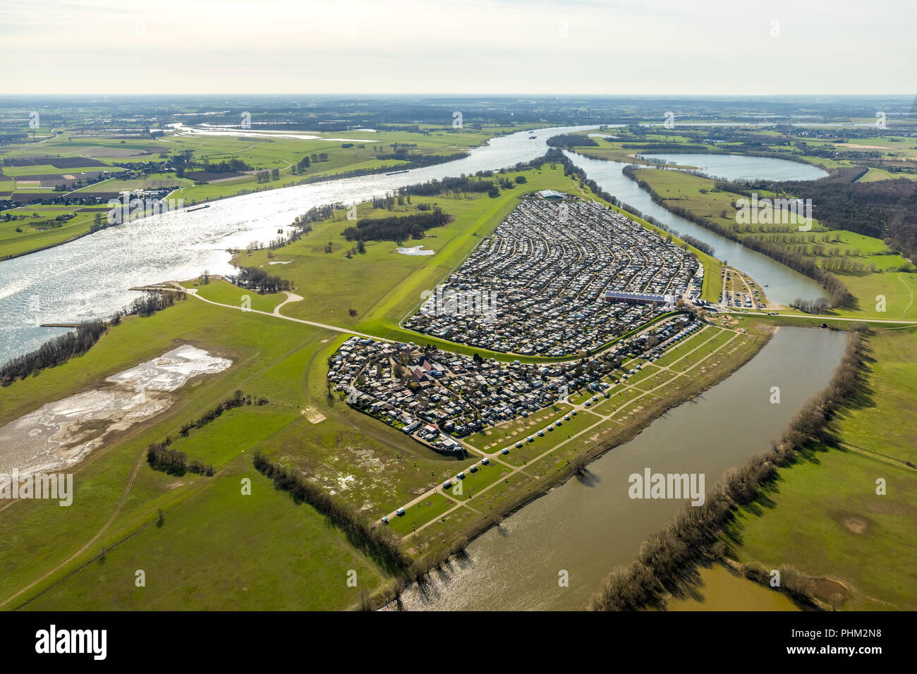 Campingplatz Grav-insel GmbH & Co KG, 2000 pitches and Germany's largest campsite in Wesel in NRW. Wesel, Rhineland, Hanseatic City, Lower Rhine, Nort - Stock Image