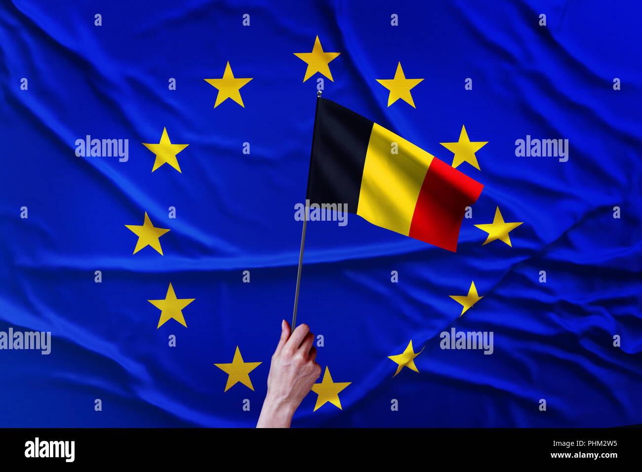 Flag of the European Union and Belgium - Stock Image