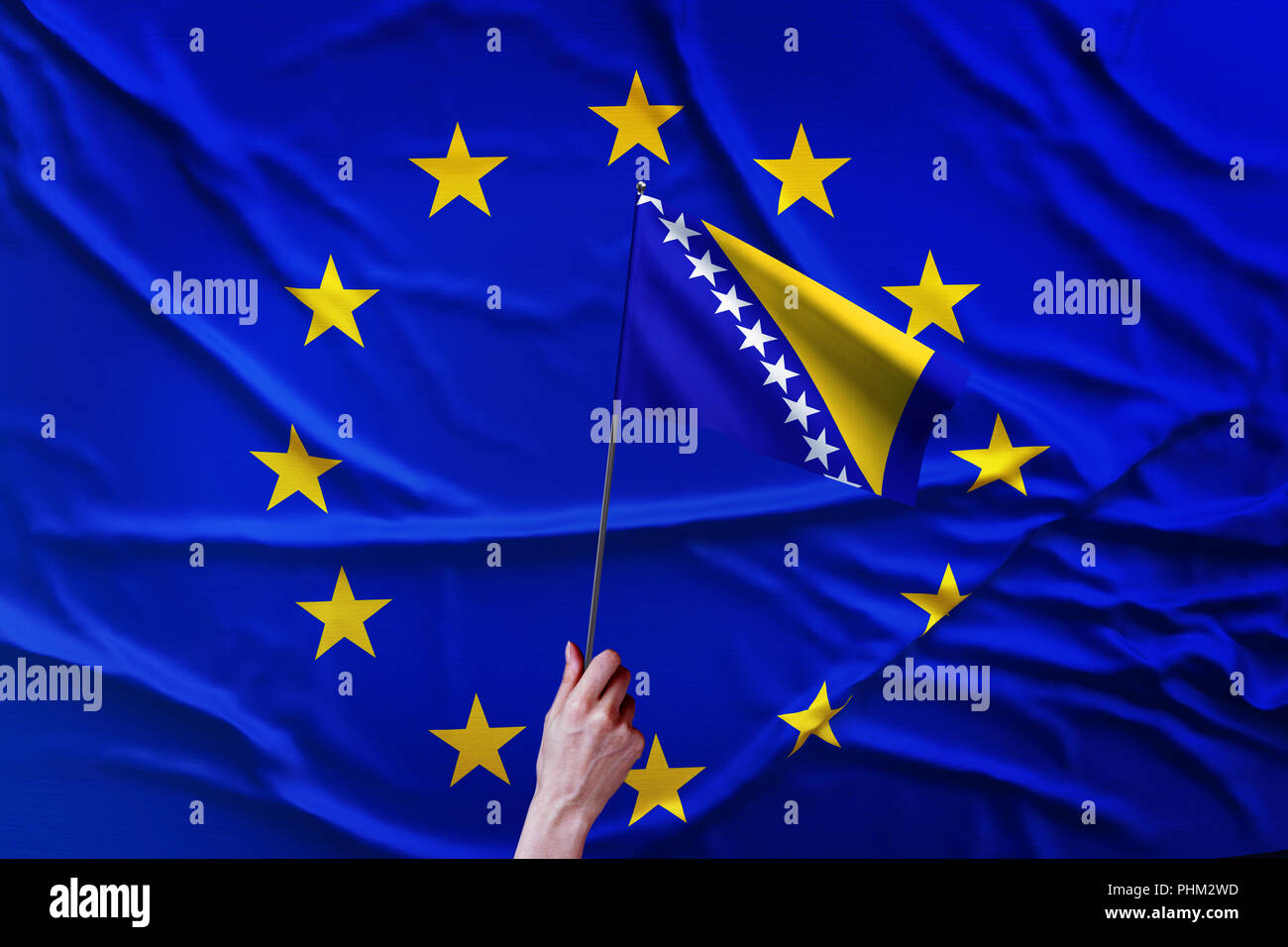 Flag of the European Union and Bosnia And Herzegovina - Stock Image