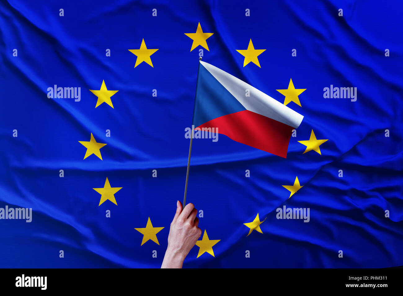 Flag of the European Union and Czech Republic - Stock Image