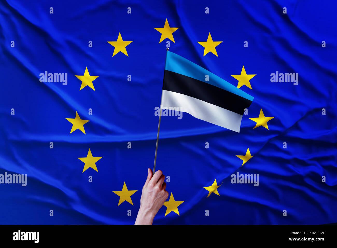 Flag of the European Union and Estonia - Stock Image
