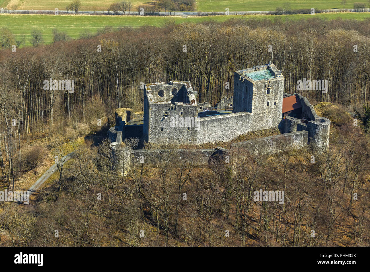 Weidelsburg is the ruin of a mountain castle near Ippinghausen in Wolfhagen, nature parks Habichtswald, Ippinghausen in the district Kassel, Hessen, G Stock Photo