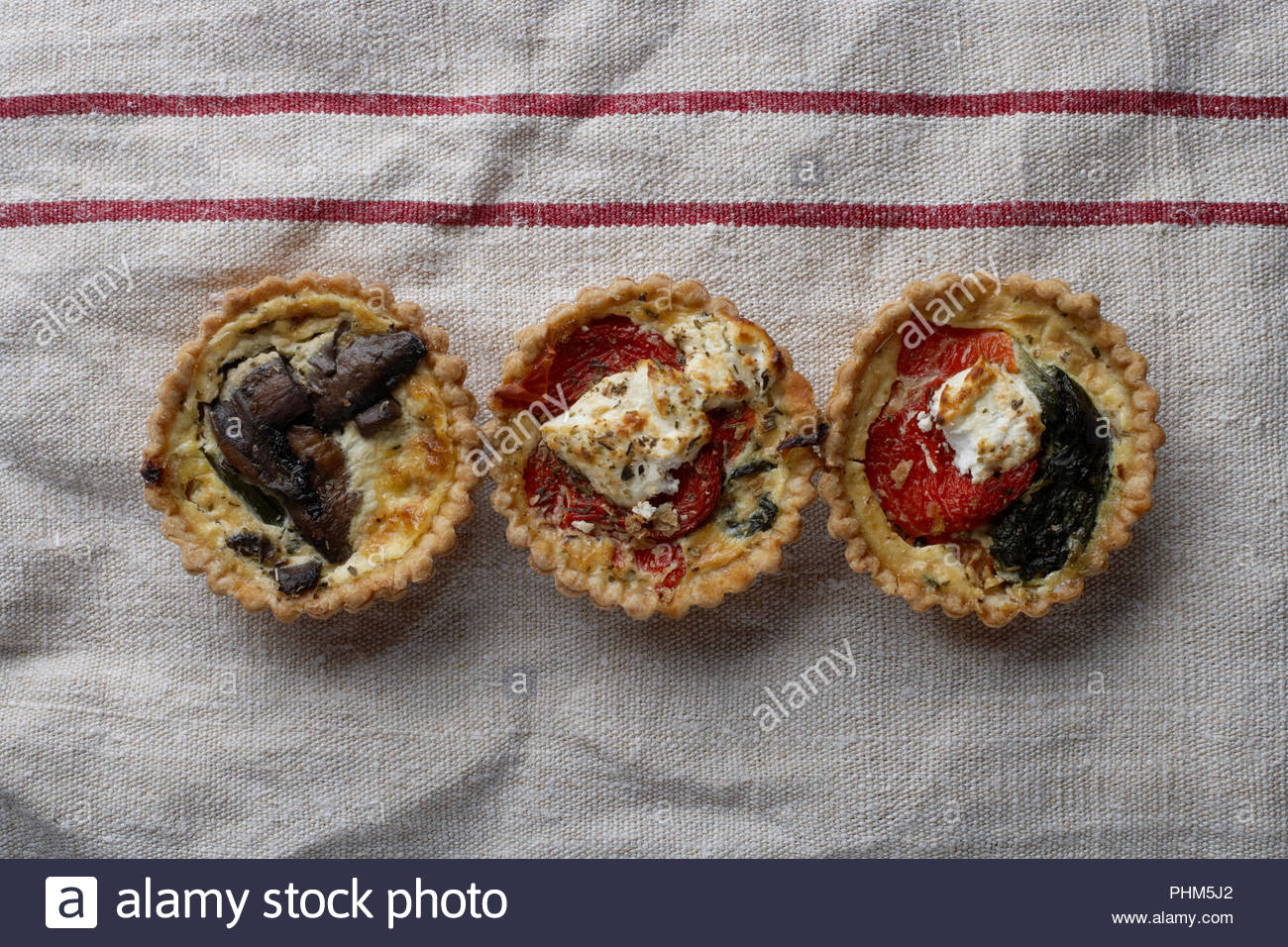 Row of quiches - Stock Image