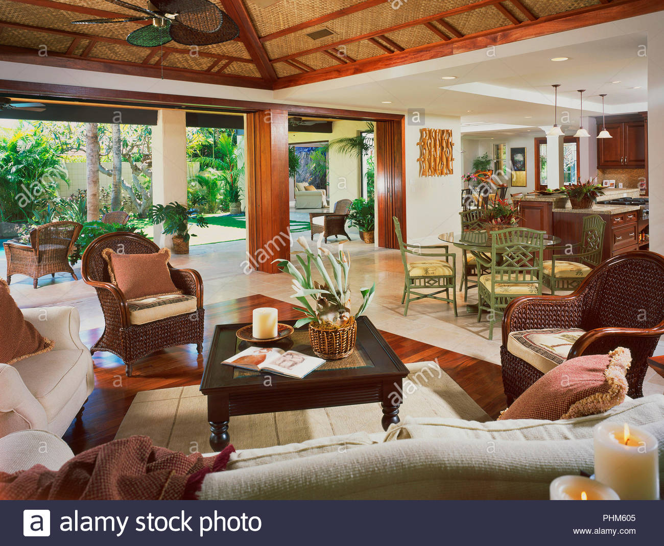 Living room with pot plant - Stock Image