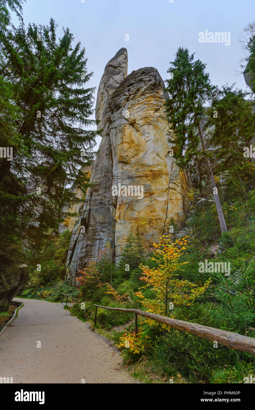 Rocks in Adrspach-Teplice Nature park in Czech - Stock Image