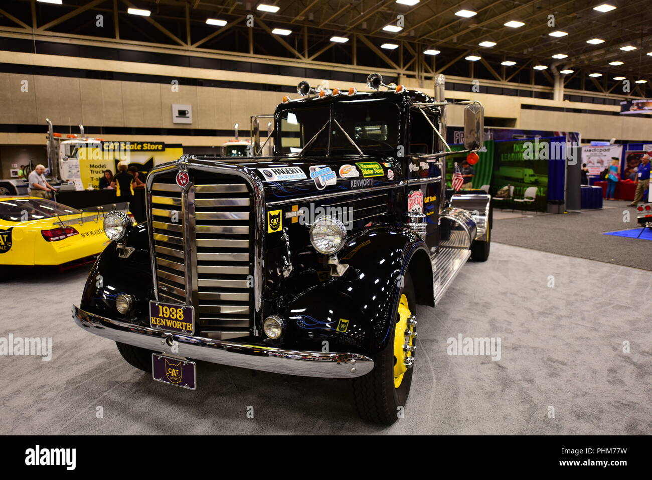 A black 1938 Kenworth semi truck is displayed at the 2018 Great American Truck Show in Dallas, Texas, USA. - Stock Image