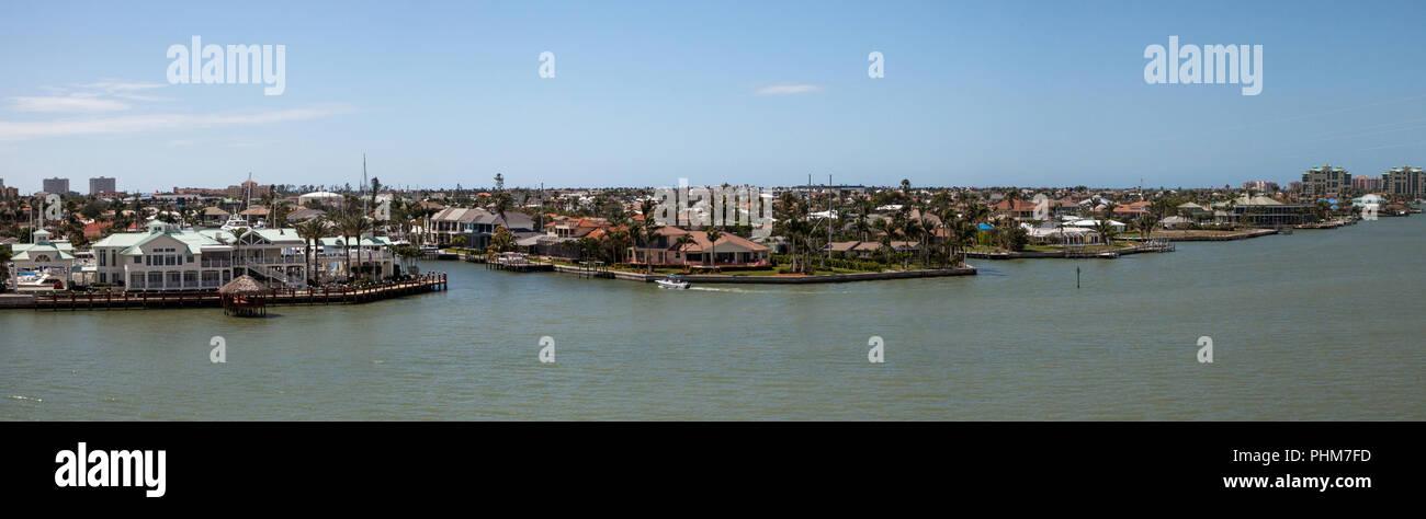 Panoramic view headed onto Marco Island, Florida - Stock Image
