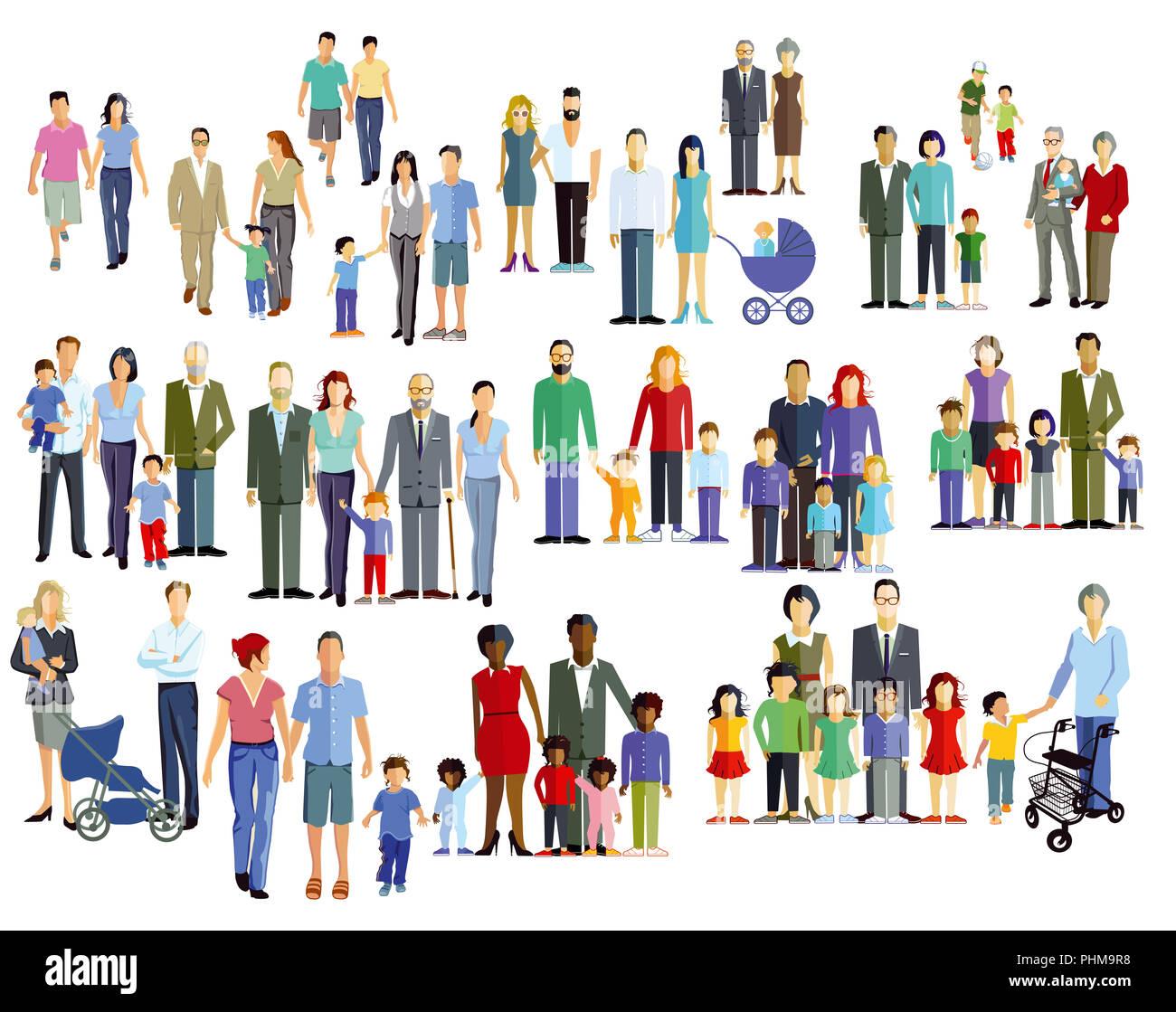 Family members, generation groups, illustration - Stock Image