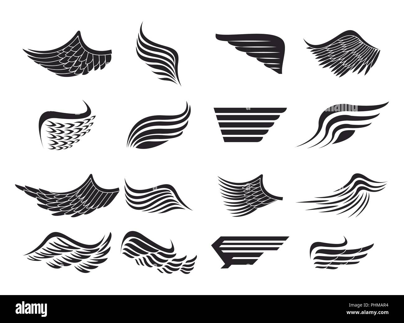 Set of wings emblems - Stock Image