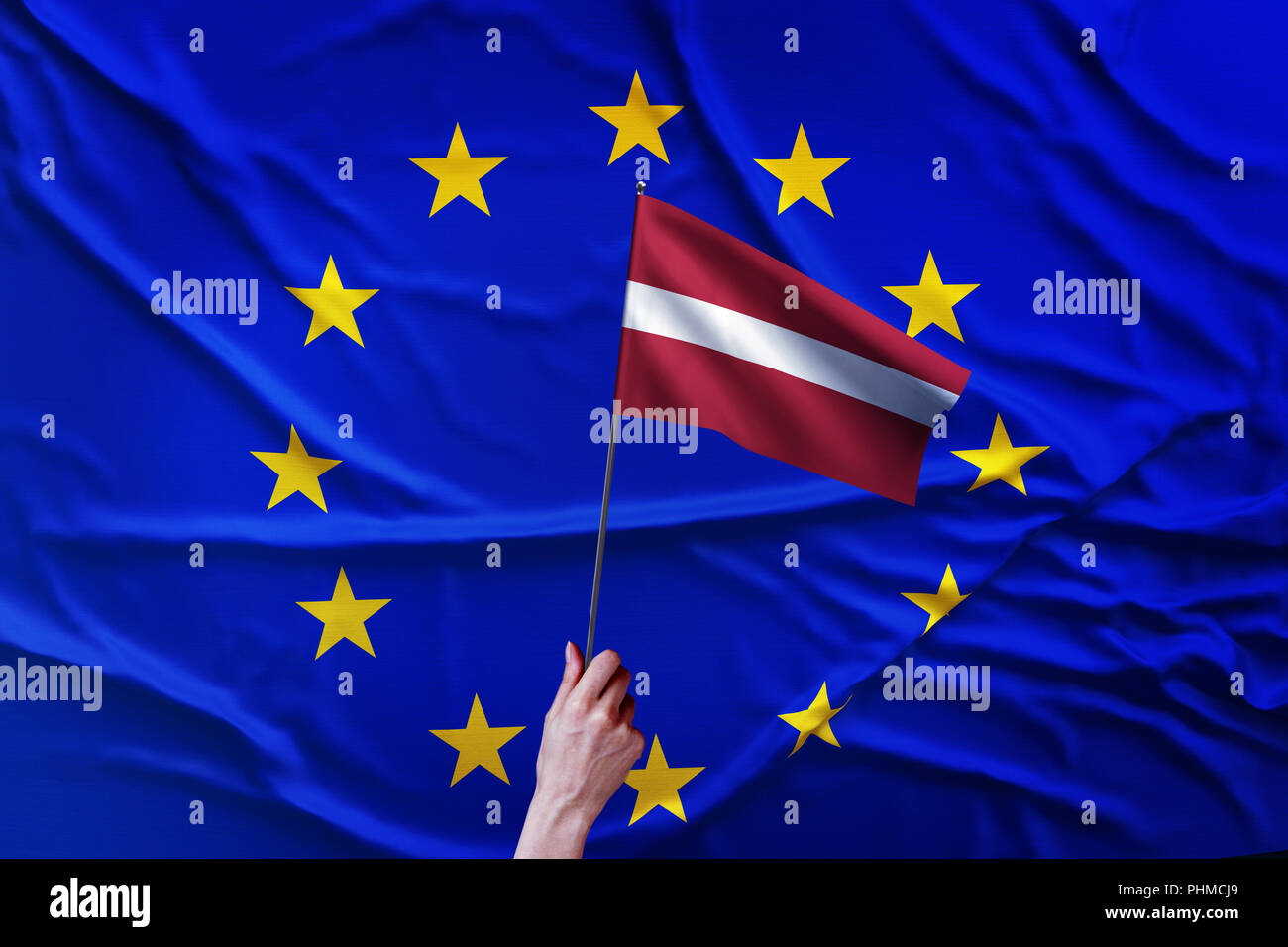 Flag of the European Union and Latvia - Stock Image