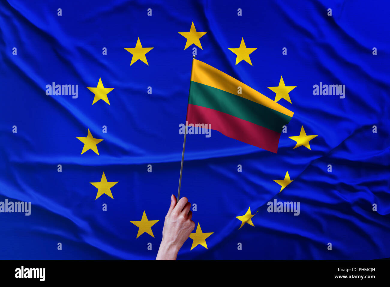 Flag of the European Union and Lithuania - Stock Image