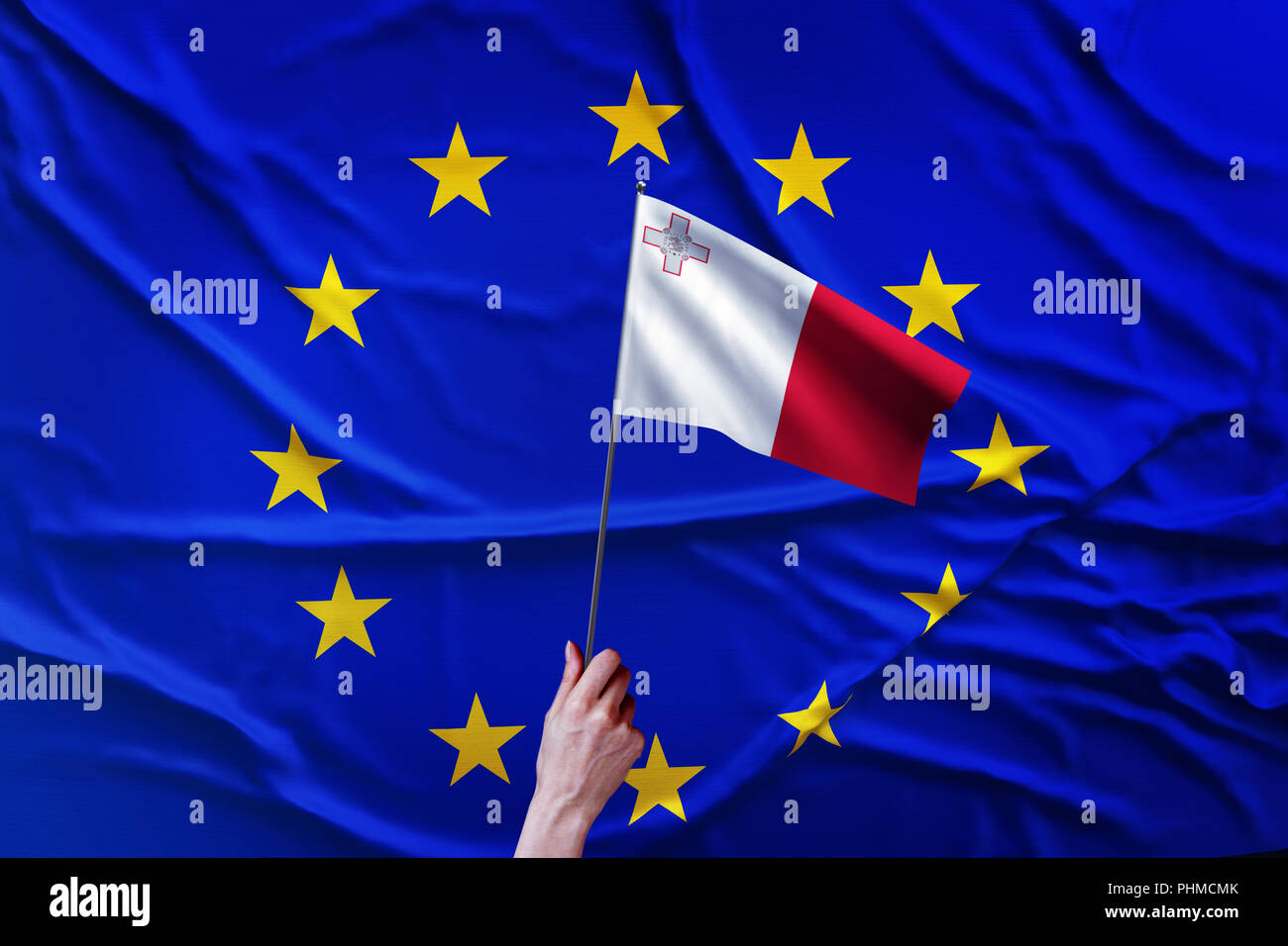 Flag of the European Union and Malta - Stock Image