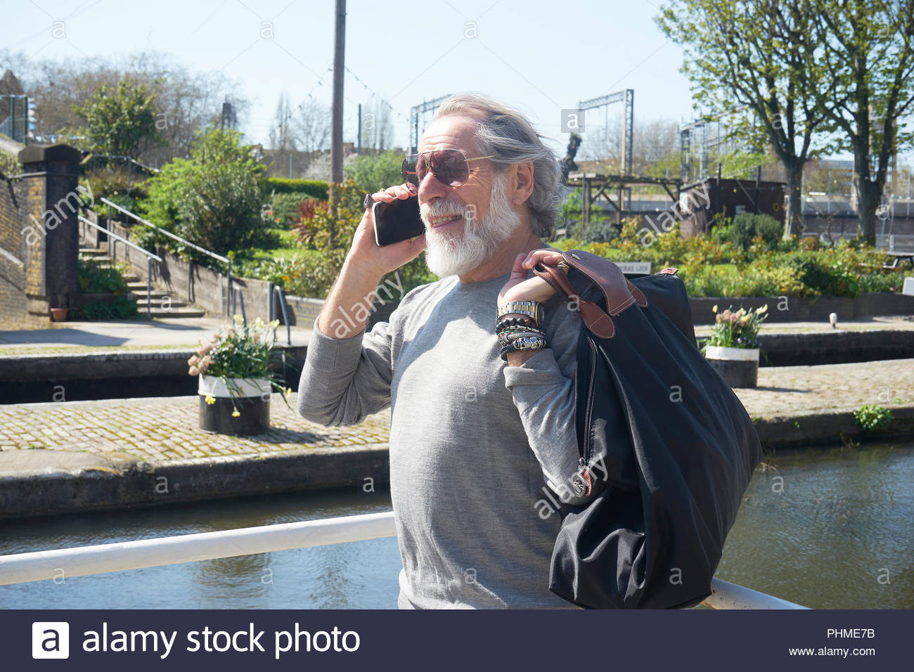Senior man on phone call - Stock Image