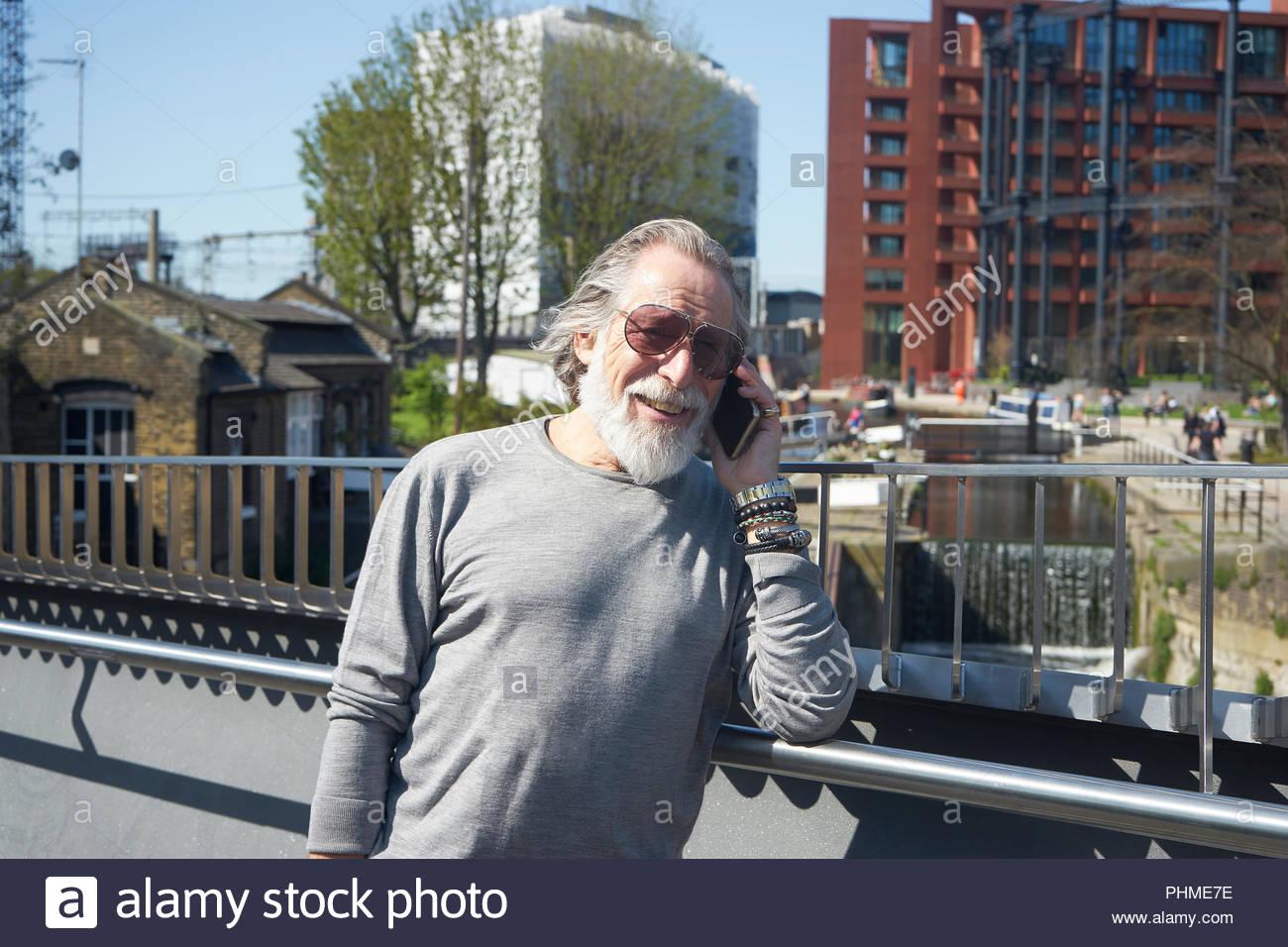 Senior man on phone call - Stock Image