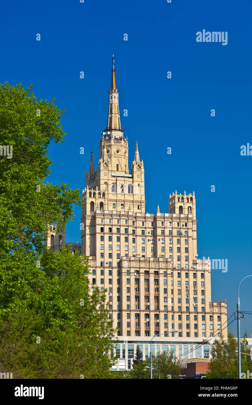 Stalin's famous skyscraper on Kudrinskaya Square - Moscow Russia Stock Photo