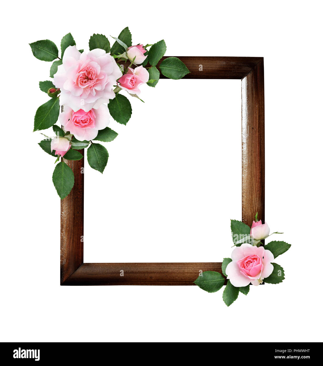 Pink rose flowers and green leaves in a corner floral arrangements pink rose flowers and green leaves in a corner floral arrangements on brown wooden frame isolated on white background mightylinksfo
