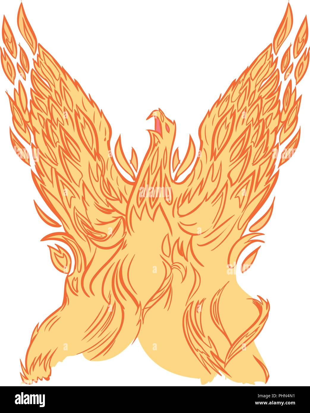 Vector clip art cartoon illustration of a phoenix or firebird made of fire or flames rising into the air with wings spread. - Stock Vector