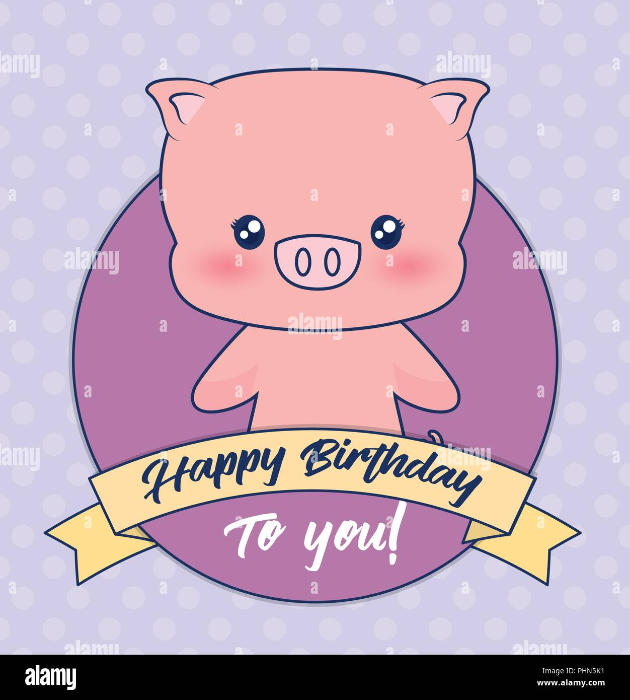 Happy Birthday Design With Decorative Ribbon And Cute Pig Icon Over Purple Background Colorful Design Vector Illustration Stock Vector Image Art Alamy