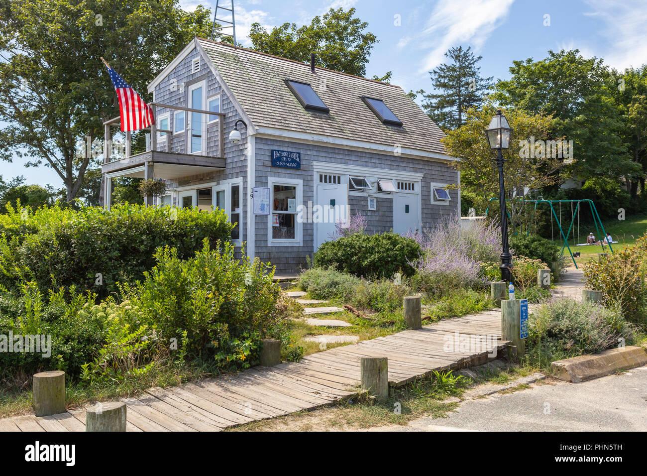 The Harbormaster's office in Owen Park in Tisbury, Massachusetts on Martha's Vineyard. - Stock Image