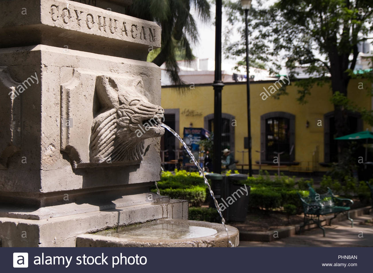 Still life of a fountain in the Jardin Centenario, in Mexico City's Coyoacan district. - Stock Image