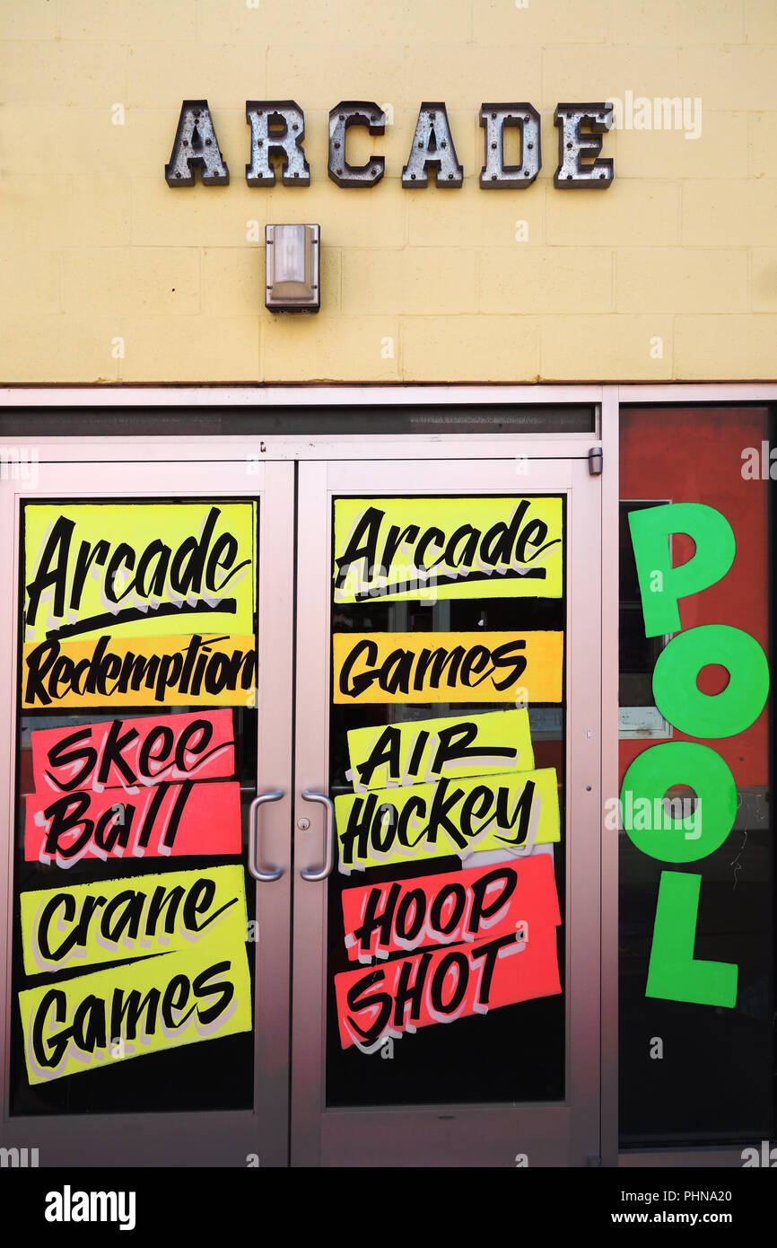 Arcade games signs - Stock Image