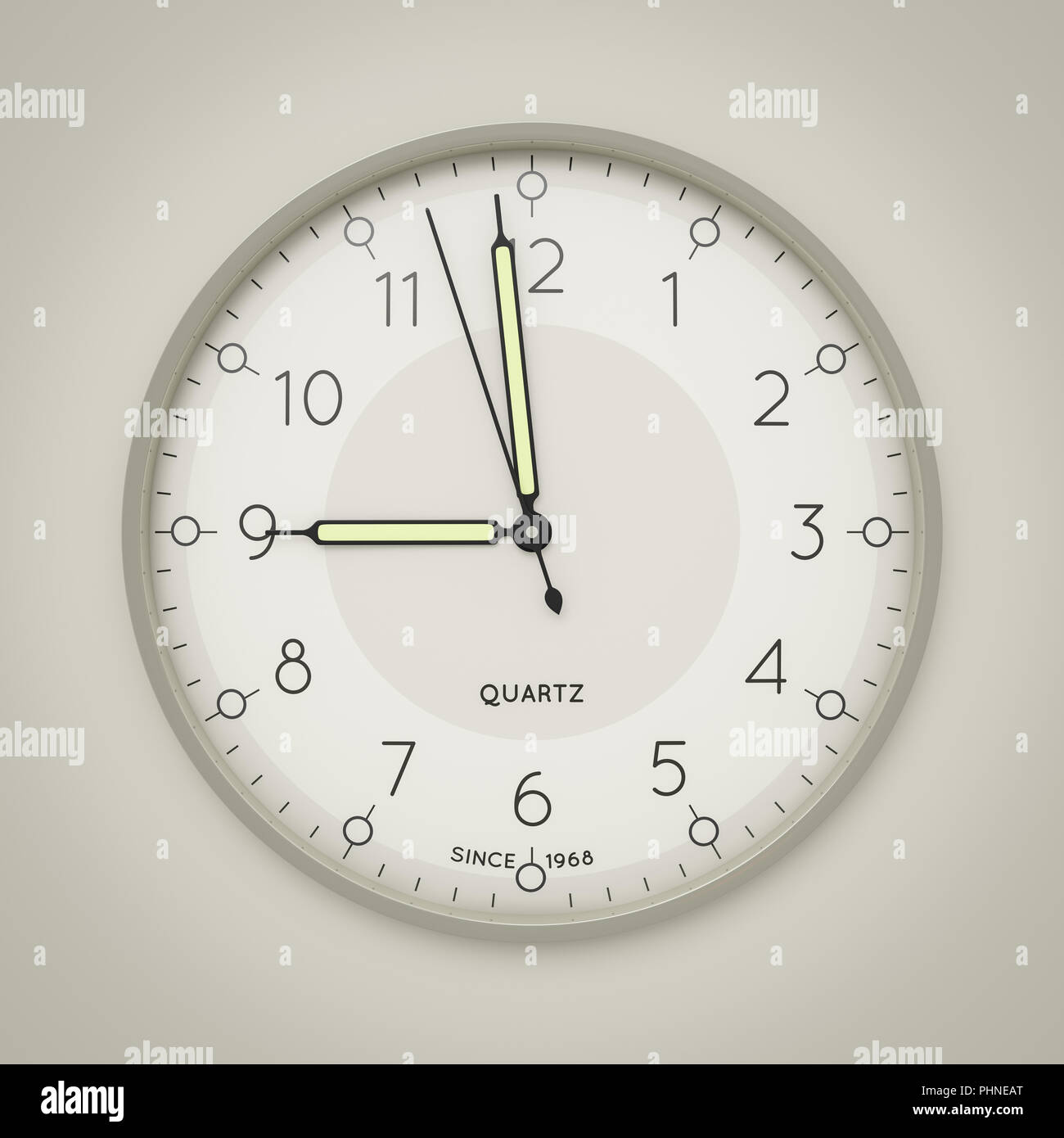 a clock showing three seconds to nine - Stock Image