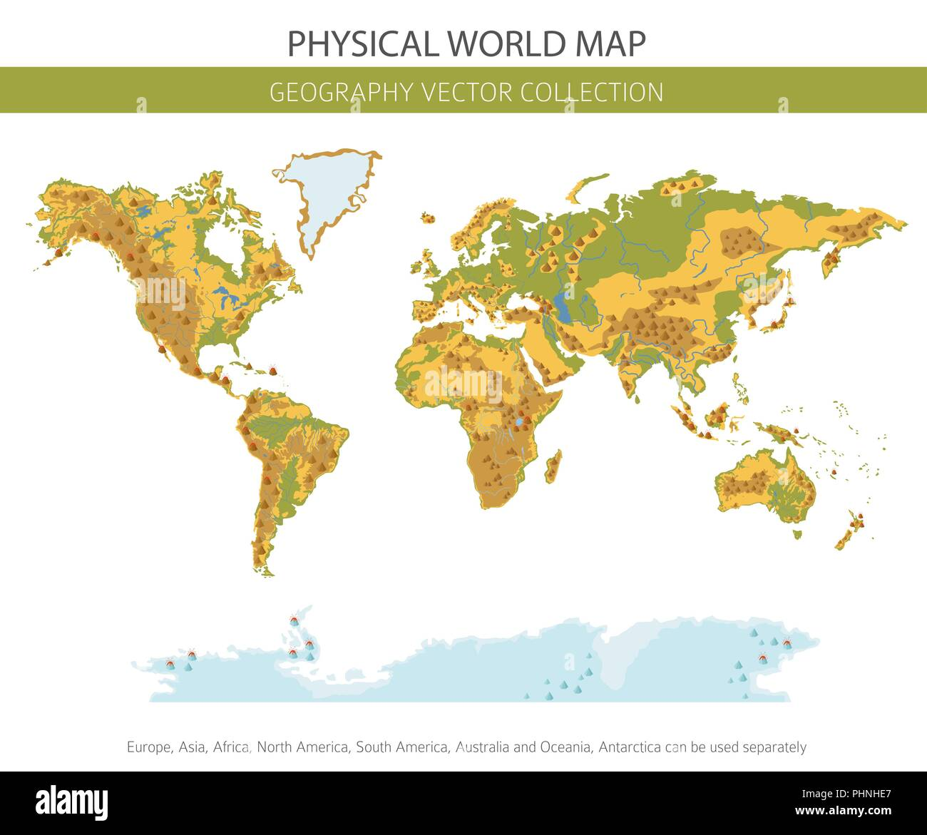 Physical world map elements. Build your own geography info graphic collection. Vector illustration - Stock Image