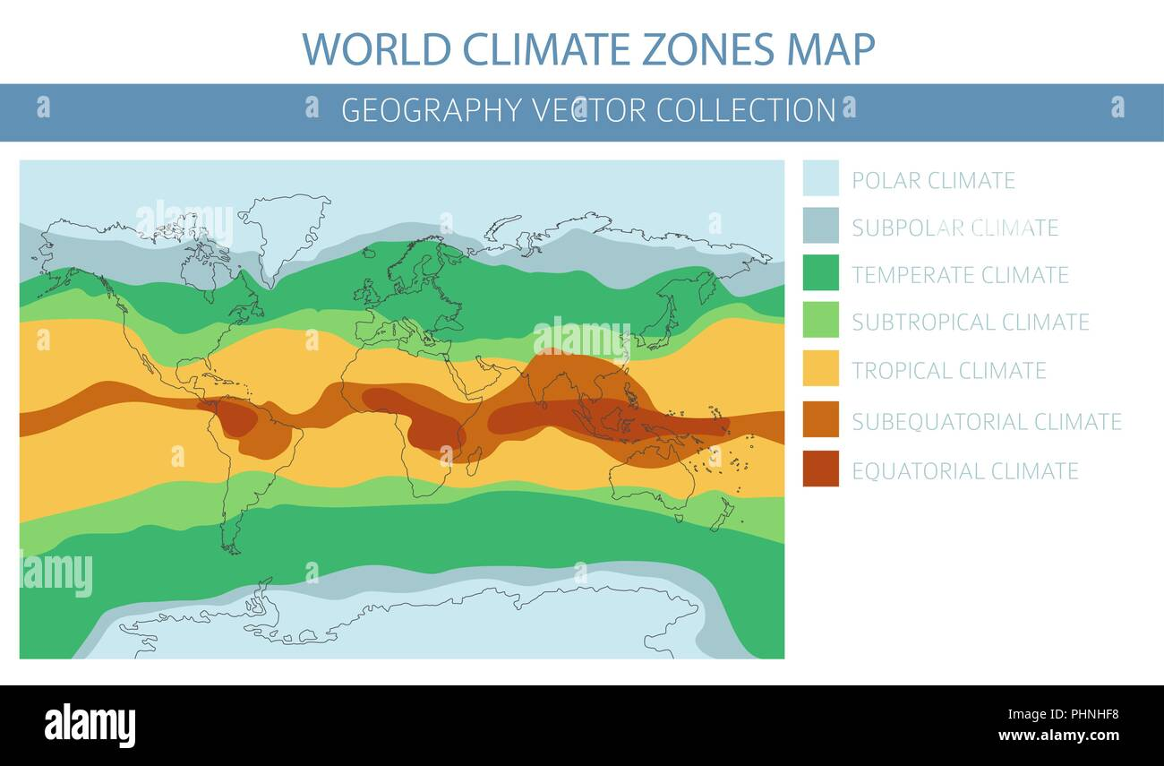 World climate zones map elements. Build your own geography info graphic collection. Vector illustration - Stock Image