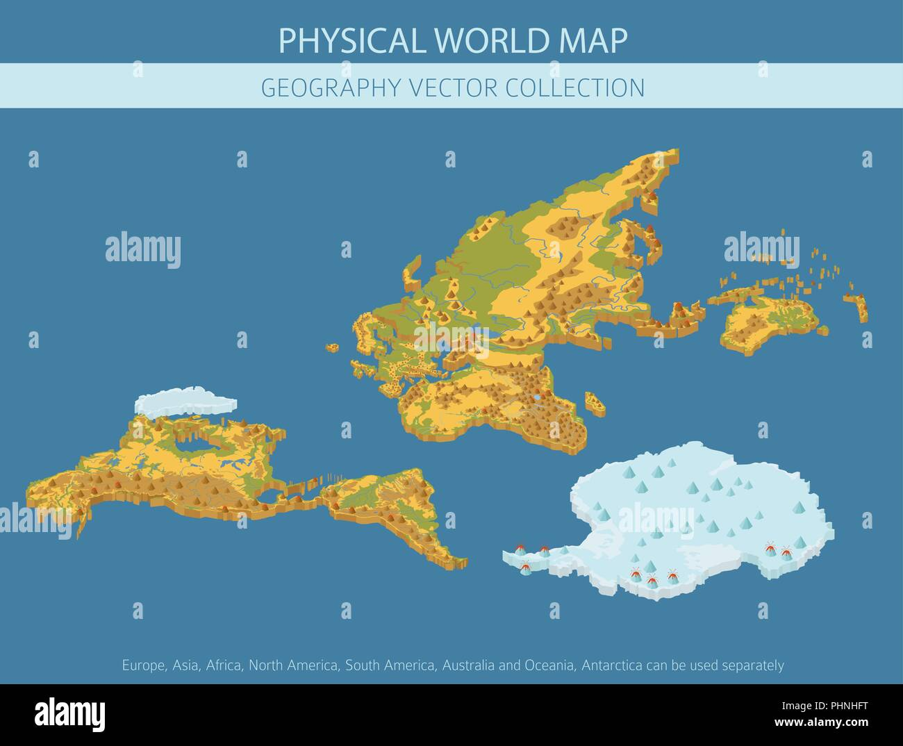 Isometric 3d world map elements. Build your own geography info graphic collection. Vector illustration - Stock Image